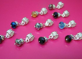 Mixed Color Crystal Dangle Charm Beads