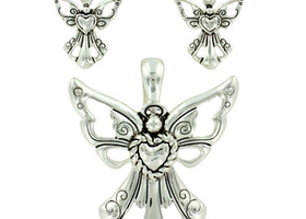 Etched Silvertone Angel Pendant and Earrings To Match