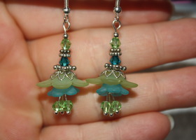 Frosted Peridot and Topaz Lucite Lily Crystal Bead Earrings