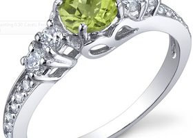 0.50 Carats Peridot Ring in Pure .925 Sterling Silver Size 5 to 9