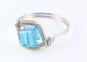 Electric Blue Wire Wrapped Swarovski Crystal Ring