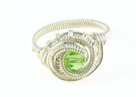 Green Swarovski Crystal Sterling Silver filled Ring