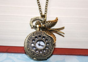 """Time Flies"" - Victorian Pocket Watch Necklace"