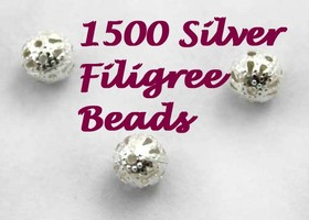 2000pcs 6mm Silver Plated Filigree Beads #20