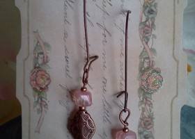 Vintage Pink Glass/Copper Earrings