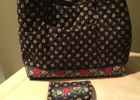 Vera Bradley Vibrant Black Large Shoulder Bag w wallet