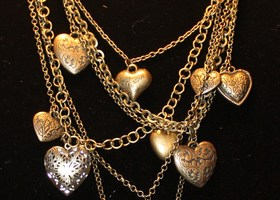 Old Bronze Plated Hearts Style Pattern Multi-layer Necklace
