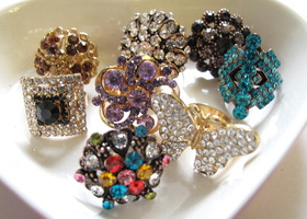 Destash Lot - New 8pc Bling Glass Crystal Cocktail Rings