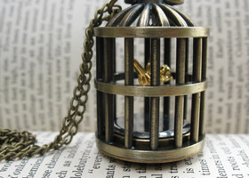 Little Birdie in Cage Watch Necklace