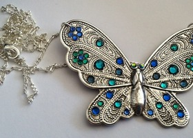 Gorgeous Pewter Butterfly Pendant Hand Covered in Swarovski Crystal Rhinestones. Stunning.