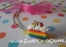 Rainbow Cake Slice Necklace