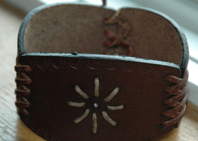Upcycled Tooled Leather Cuff Bracelet