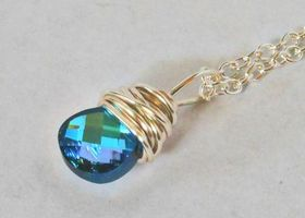 Genuine Beautiful Swarovski  Aquamarine Vitrail Light 11mm Faceted Briolette Wire Wrapped with Silver Plated German Wire on 18in Silver Plated Chain - Shades of Blue and Green