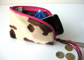 Cell phone or Ipod pouch cow print