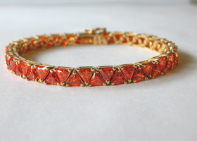 Orange CZ Bracelet 18K Gold Over Sterling Silver