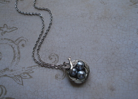 Silver Pearl Bird's Nest Necklace