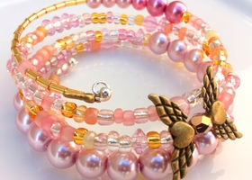 Pink Pearls and Glass Beads with Brass Angel Wings Wrap Bracelet