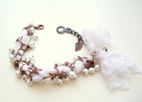 Rustic  Chainmaille Lace Wrapped Bracelet With Glass Pearls