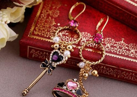 Crystal Accented Crown Heart Asymmetrical drop earrings