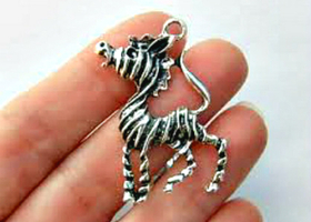 1 XL Antique Silver Zebra + 1-Silver Plated Chain