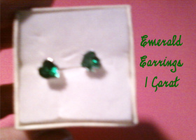 LC Green Emerald 925 Silver Heart Earrings Free US Ship