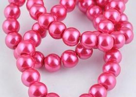 Approx 120pcs rose glass pearl beads loose 6mm