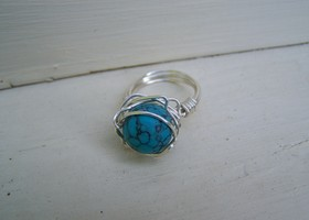 Wire Wrapped Turquoise Clay Ring
