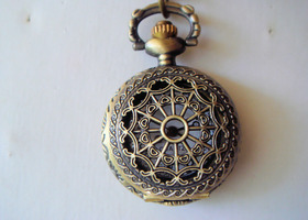 Bronze Filigree Pocket Watch Necklace