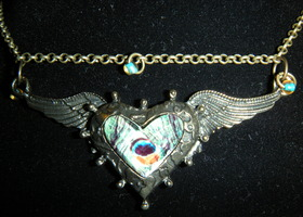 Peacock,Angel,Heart, Wing Necklace