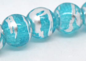 25 Blue Crackle Glass Loose Beads 8mm -SS