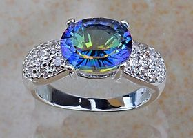 Sz 7.5 Fire Rainbow Topaz Sterling Silver Ring