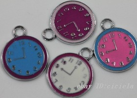 10pcs tibetan silver mix color lovely wall clock charms