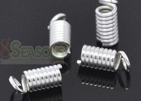 200 silver plated coil end crimp fasteners 9x4