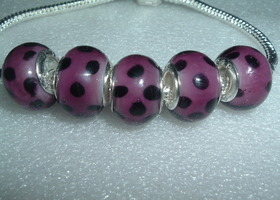 5 Purple & Black Lampwork Euro Beads
