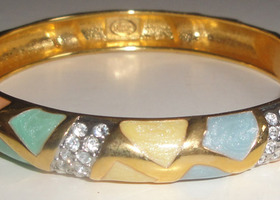 Signed Joan Rivers Mosaic/Stone Bangle Bracelet