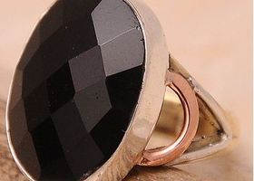 Black Onyx Sterling Silver Ring 6
