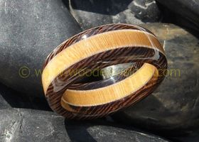 Handcrafted Exotic Wenge Hardwood ring with a Birdseye Maple and Yellowheart inlay