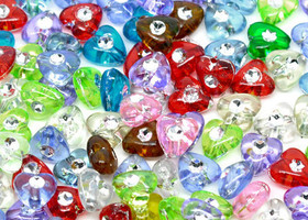 250 mixed foil dot heart charm acrylic beads 8x8