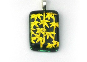 Sparkly Yellow Palm Trees Pendant, Handmade Fused Glass