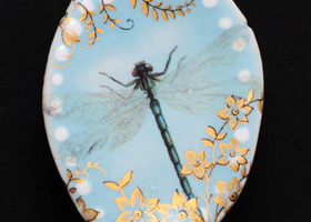Studio Limoges Porcelain Brooch Pin Dragonfly Baby Blue White Dots Golden Flowers
