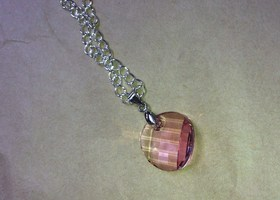 18mm Twist Swarovski Crystal LIGHT ROSE Pendant