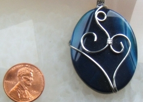 """DEEP SEA BLUE"" Banded Agate Pendant"