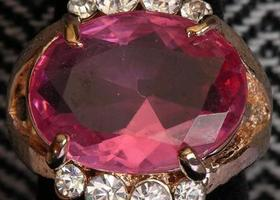 Fancy Gold-Tone Natural Pink Topaz/CZ Ring, Size 8