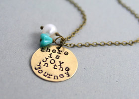 There Is Joy in The Journey Antique Brass Hand Stamped Necklace