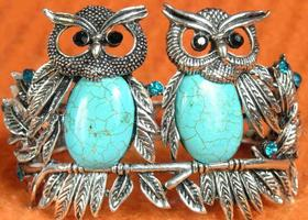 Vintage-Style Silver And Blue Turquoise Double Love Owl Bracelet