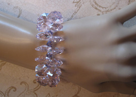 WOW!!! Beautiful sparkling PINK Lt Rose Swarovski Crystals Bracelet!