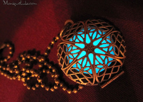 Aqua Glow in the Dark Antiqued Brass Filigree Locket