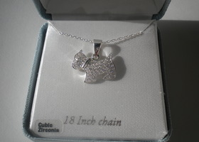 Sterling Silver CZ Scottie Dog Pendant with Sterling Cilver Chain