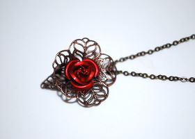 Antique Inspired Rose Filligree Necklace