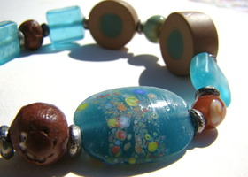 Mixed Media Bracelet in Brown and Teal Blue- Lampwork, Upcycled Pressed Glass, Handmade Ceramic